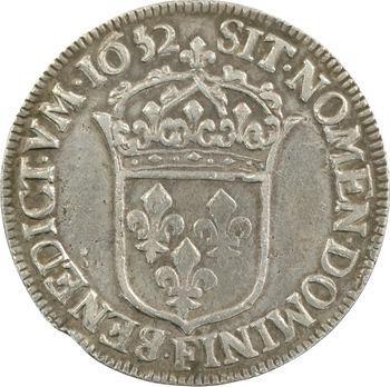 Louis XIV, demi-écu à la mèche longue, 1652 Angers