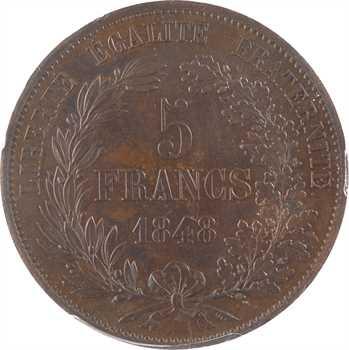 IIe République, concours de 5 francs par Gayrard, non signé, 1848 Paris, PCGS SP63BN