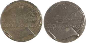 Nouvelle-Calédonie, société le Nickel, par Baudichon, 1880 Paris, lot de 2 exemplaires en maillechort et nickel