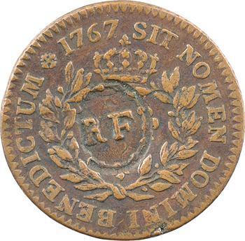 Guadeloupe, Louis XV, 3 sous 9 deniers ou 1/4 escalin, (1793 sur) 1767