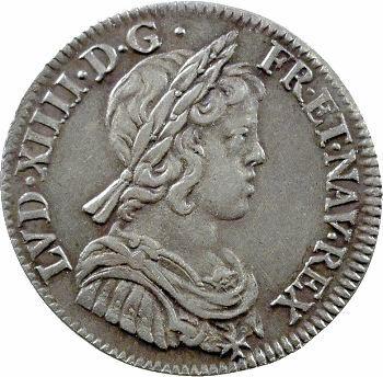 Louis XIV, quart d'écu à la mèche courte, 1645 Paris (point)