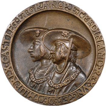 Hongrie/Espagne, Philippe le Beau et Ferdinand de Habsbourg, fonte de bronze commémorative, s.d