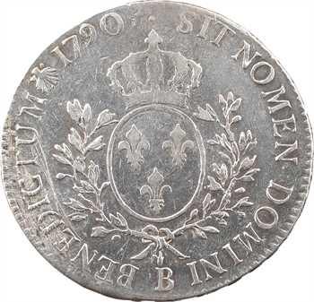 Louis XVI, écu aux branches d'olivier, 1790 Rouen