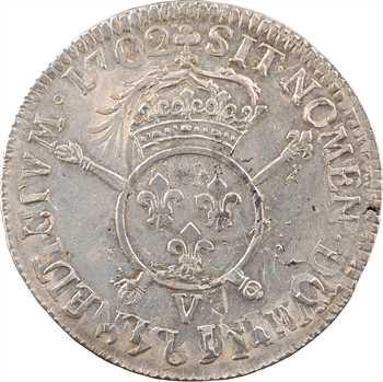 Louis XIV, écu aux insignes, 1702 Troyes