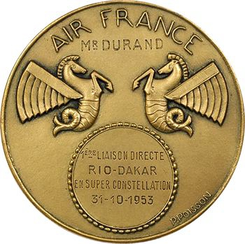 Aviation : Air France, première liaison directe Rio-Dakar, par Poisson, 1953 Paris