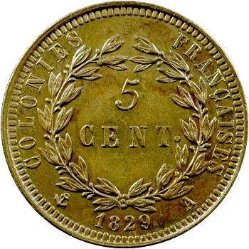 Charles X, 5 centimes pour les colonies, 1829 Paris