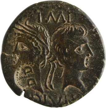 Auguste et Agrippa, as, contremarque D/D, Nîmes, c.9-3 av. J.-C