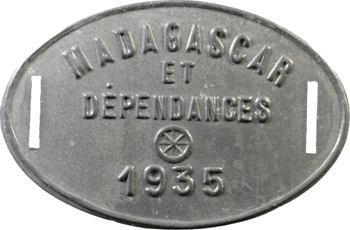 Madagascar, plaque de taxe, 1935
