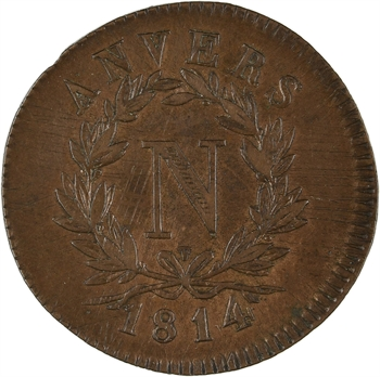 Premier Empire, siège d'Anvers, 5 centimes, 1814 Anvers
