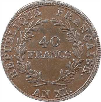 Consulat, essai de 40 francs en étain, An XI Paris