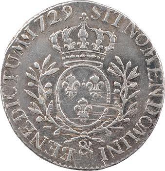 Louis XV, cinquième d'écu aux rameaux d'olivier, 1729 Aix-en-Provence