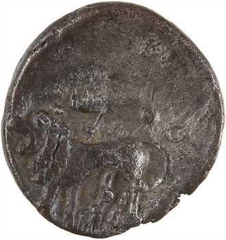 Suessions, denier classe III au lion et au sanglier, c.70 av. J.-C., Villeneuve-St-Germain