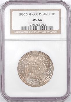 États-Unis, demi-dollar, Rhode Island, 1936 San Francisco, NGC MS64