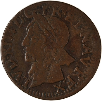 Louis XIII, double tournois, type de Warin, légende latine, 1642 Bordeaux