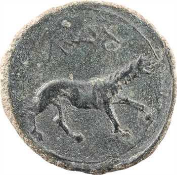 Espagne, Ilergètes, as de bronze, série au loup, Lerida (Iltirta), c.104-80 av. J.-C