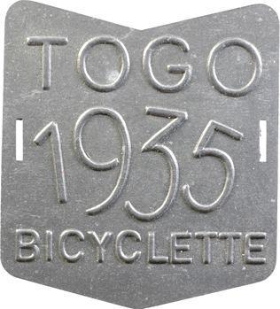 Togo, plaque de taxe de bicyclette, 1935