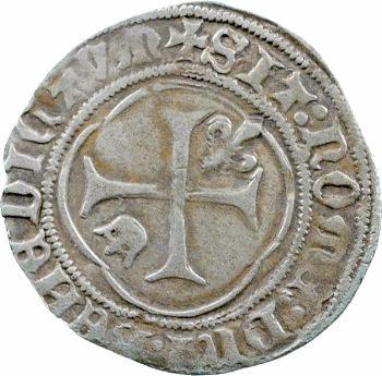 Charles VII, petit blanc à la couronne, 1re émission, Montpellier