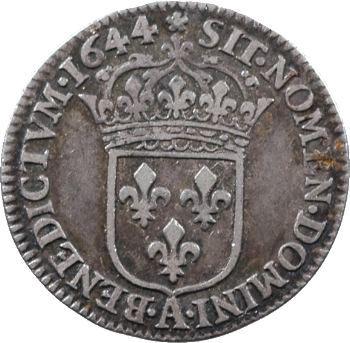 Louis XIV, douzième d'écu à la mèche courte, 1644 Paris (rose)