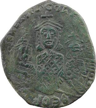 Basile Ier, Constantin et Léon, follis surfrappé, Constantinople, 870-877