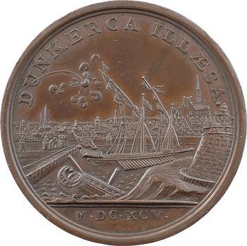 Louis XIV, échec du bombardement de Dunkerque par la flotte anglo-hollandaise, par Mauger, 1695 Paris