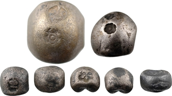 Thaïlande, Rama IV, lot de 7 Bullet Coins, 5 x 1/8 bath, 1/2 bath et 1 bath, s.d. Bangkok