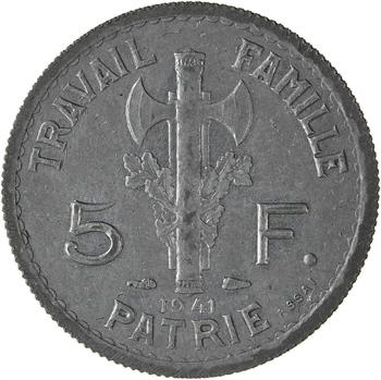 État français, essai uniface de 5 francs Pétain type II en zinc, tranche striée, 1941 Paris