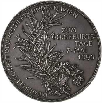 Autriche, 60e anniversaire de Johannes Brahms par Scharff, 1893 Vienne