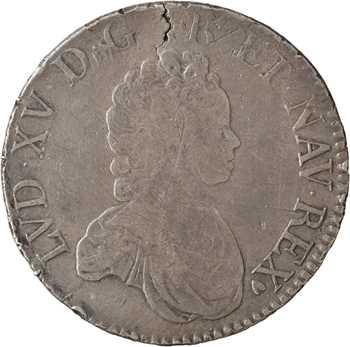 Louis XV, écu dit Vertugadin, flan neuf, 1717 Poitiers