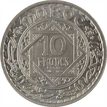 Maroc, Mohammed V, essai de 10 francs, AH 1366 (1947), Paris