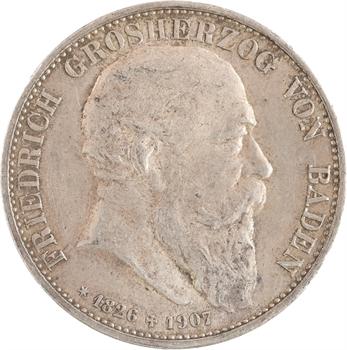 Allemagne, Bade (Grand-duché de), Frédéric I, 5 mark, 1907 Karlsruhe