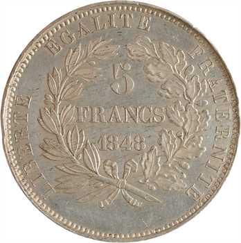 IIe République, concours de 5 francs par Desbœufs, 1848 Paris