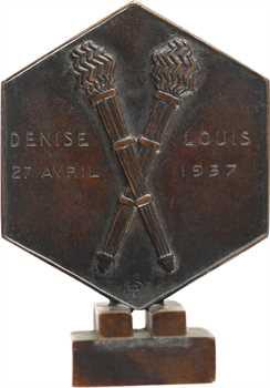 Dropsy (H.) : médaille de mariage hexagonale, 1937 Paris