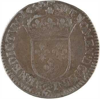 Louis XIV, douzième d'écu à la mèche longue, 1658 Aix-en-Provence