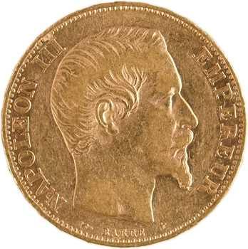 Second Empire, 20 francs tête nue, 1855 Strasbourg, levrette/abeille