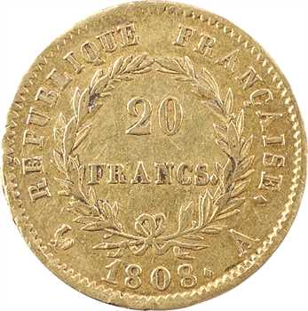 Premier Empire, 20 francs République, 1808 Paris