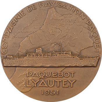IVe République, Compagnie de navigation Paquet, le paquebot Lyautey (Maroc), par Delamarre, 1951 Paris