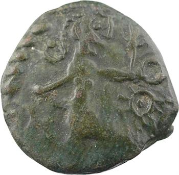 Bellovaques, bronze au personnage courant et à l'androcéphale, classe II, Ier s. av. J.-C