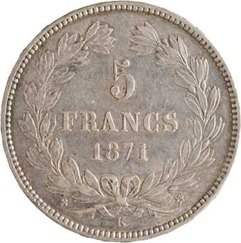 Gvt de Défense nationale, 5 francs Cérès sans légende, 1871 Bordeaux