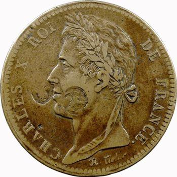 Charles X, 10 centimes des colonies françaises, 1827 La Rochelle, contremarqué