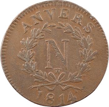 Premier Empire, siège d'Anvers, 10 centimes, 1814 atelier Wolschot
