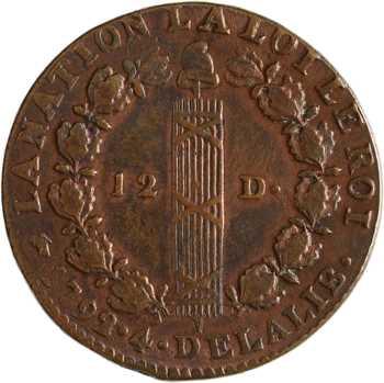 Constitution, 12 deniers FRANÇOIS, An 4, 1792 Lyon