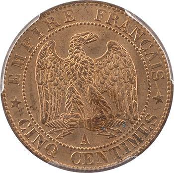 Second Empire, cinq centimes tête nue, 1854 Paris, variété au différent de Rouen, PCGS MS64RB