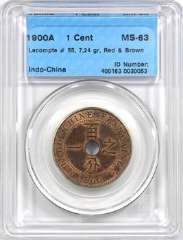 Indochine, 1 centième, coque CCCS MS63, 1900 Paris