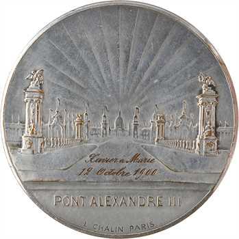 Dropsy (E.) : médaille du pont Alexandre III transformée en médaille de mariage, 1900 Paris (Chalin)