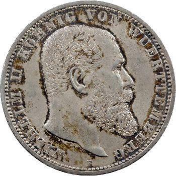 Allemagne, Wurtemberg (royaume de), Guillaume II, 5 mark, 1907 Stuttgart