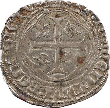 Charles VIII, blanc à la couronne (points/points et DEI GRA), cantonnement inversé, Châlons-en-Champagne