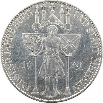 Allemagne (Empire d'), 5 reichsmark, millénaire de la fondation de Meissen, 1929 Dresde