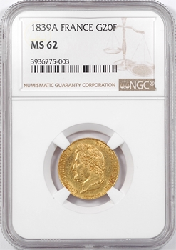 Louis-Philippe Ier, 20 francs Domard, 1839 Paris, NGC MS62