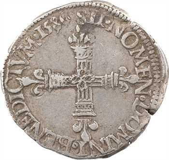 Henri III, quart d'écu écu de face, 1586 Tours
