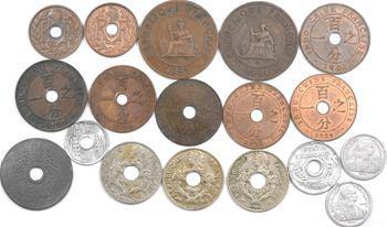 Indochine, lot de 18 exemplaires, du 1/2 centime à 5 centimes, 1892 à 1946
